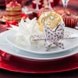 Place setting Christmas with paper star — Stock Photo #16957047