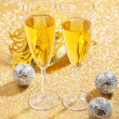 Masquerade Mask and champagne - Stock Photo