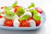 Tomato salad with mozzarella and basil — Stock Photo