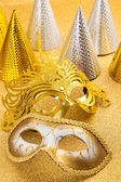 Party motive with carnival mask and party hat — Stock Photo