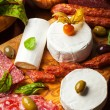 Stock Photo: Antipasto catering platter with different meat and cheese products