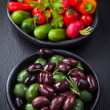 Mixed olives with raw snack vegetable - Stok fotoğraf
