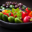 Raw snack vegetable with olives — Stock Photo