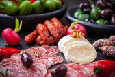 Cheese and Antipasti — Stock Photo