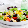 Greek salad with cheese and olives - Stock Photo