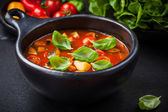 Minestrone soup with vegetables — Stock Photo