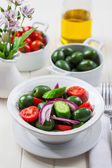 Greek salad with green olives — Zdjęcie stockowe