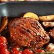 Delicious steak with grilled vegetable — Stock Photo