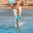 Hot summer - little boy splashing — Stok fotoğraf