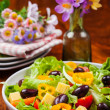 Stock Photo: Vegetable salad with olives and cheese