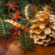 Traditional Christmas decoration on wooden table — Stock Photo