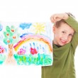 Happy boy showing his painting — Stock Photo #30670467
