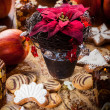 Christmas rose with cookies — Stock Photo