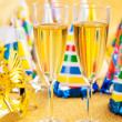 Masquerade Mask and champagne — Stock Photo #39560805
