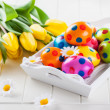 Easter still life with fresh tulips — Stock Photo