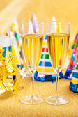 Masquerade Mask and champagne — Stock Photo