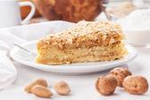 Pancake pie with nuts — Stock Photo