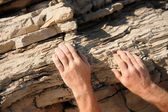 Rock climber, detail of hands — Stock Photo