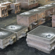 Foundry, sand molded casting, molding flasks — Foto de Stock