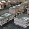 Foundry, sand molded casting, molding flasks — 图库照片