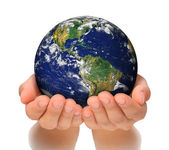 Woman holding globe on her hands, South and North America — Stock Photo