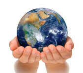 Hands of woman holding globe, Africa and Near East — Stock Photo