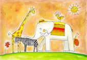Group of animals, child's drawing, watercolor painting on paper — Stock Photo