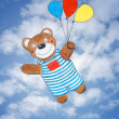 Happy teddy bear, child's drawing, watercolor painting over sky — Stock Photo