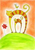 Kat en kitten, kind tekening, aquarel op papier — Stockfoto