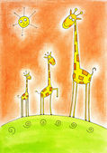 Three happy giraffes, child's drawing, watercolor painting on paper — Stock Photo