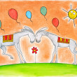 Happy donkeys with balloons, child's drawing, watercolor painting on paper — Stock Photo