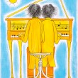 Piano players, Gemini, child's drawing, watercolor painting on paper - Stock Photo