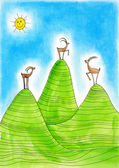 Three Alpine ibexes, child's drawing, watercolor painting on paper — Stock Photo