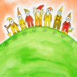 Royalty-Free Stock Photo: Seven dwarfs, child\'s drawing, watercolor painting on paper