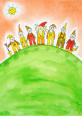 Seven dwarfs, child's drawing, watercolor painting on paper — Stock Photo