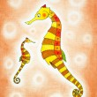 Seahorses, child's drawing, watercolor painting on paper — Stock Photo