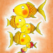 Group of gold fish, child's drawing, watercolor painting on paper — Stock Photo