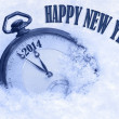 Pocket watch in snow, Happy New Year 2014 greeting card — Stock Photo
