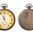 Old antique pocket watch isolated on white background. Clipping path includ — Stock Photo #5471824