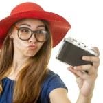 nördig tjej med kamera — Stockfoto