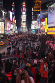 Pedestrians gather in Times Square — Stock Photo