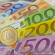 Euro coin and banknotes — Stock Photo