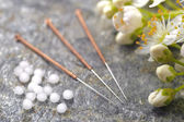 Homeopathy and acupuncture — 图库照片