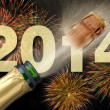 New year 2014 with champagne and firework — Stock Photo