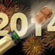 New year 2014 with champagne and firework — Stockfoto