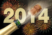 New year 2014 with champagne and firework — Foto Stock