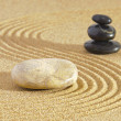 Japanese zen garden with yin and yang — Stock Photo