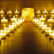Japanese zen garden with group of candle lights — Stock Photo #44452559