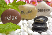 Zen garden with stones of relaxiation — Stock Photo