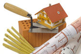 Brick and tools for house building — Stock Photo